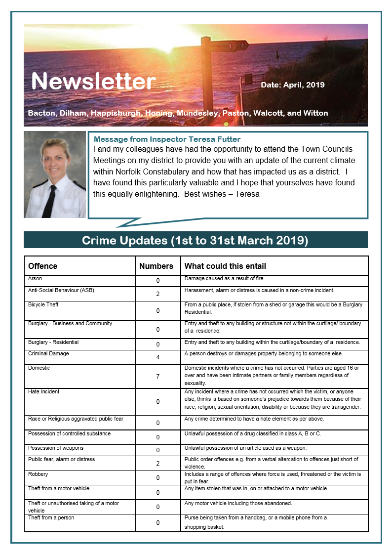 Police Newsletter for March