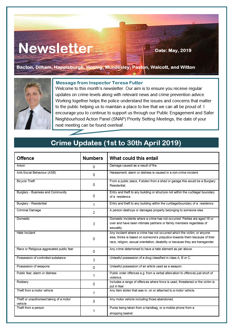 POLICE NEWSLETTER APRIL