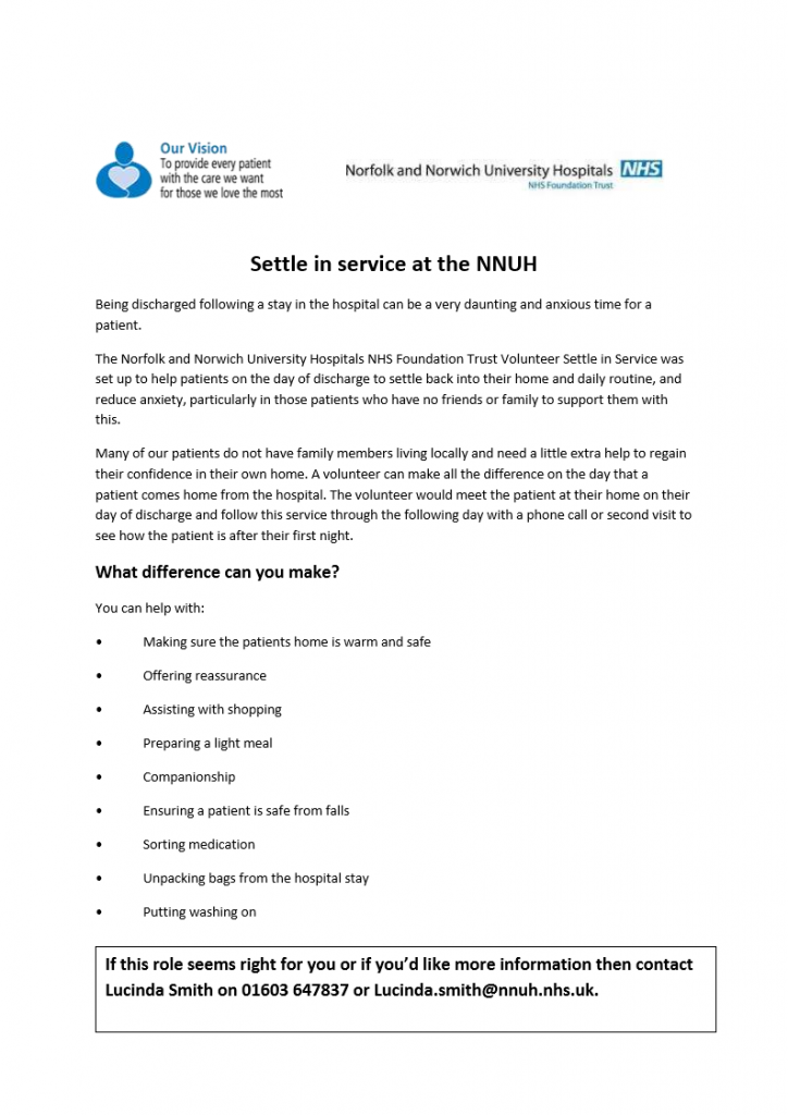 New volunteers service at the NNUH