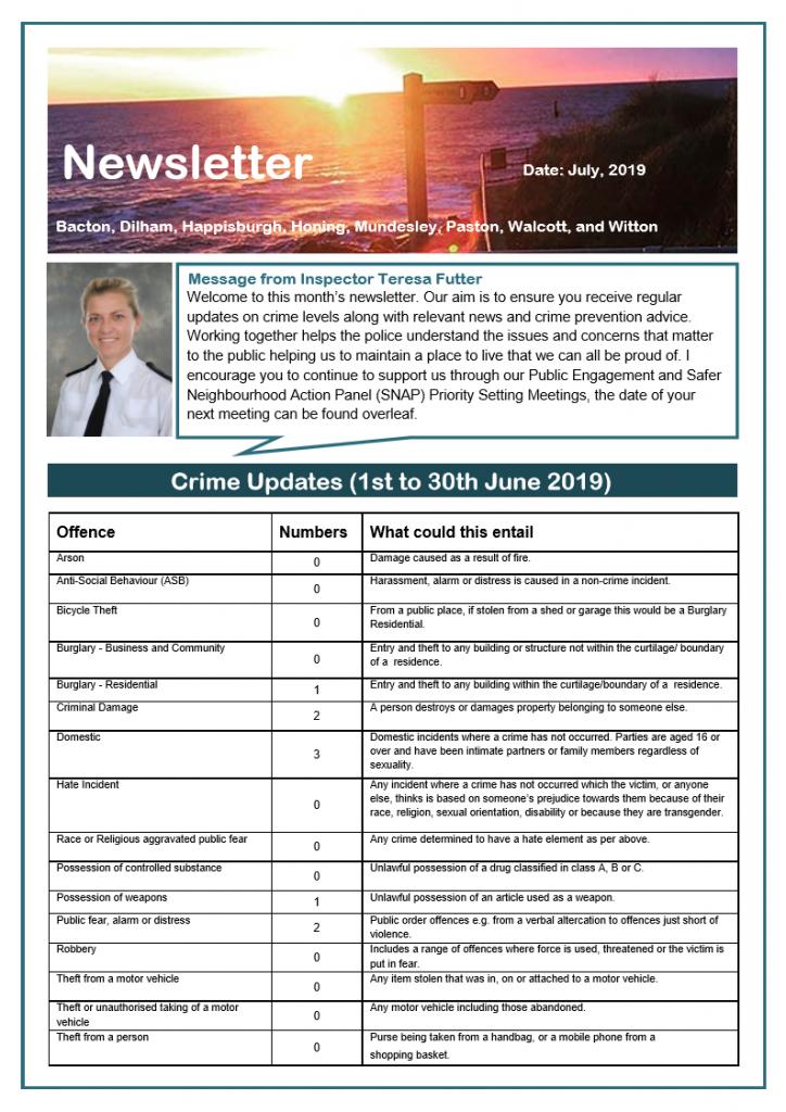 Police Newsletter for June