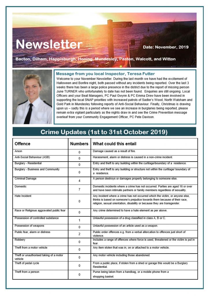 Police Newsletter October - Front