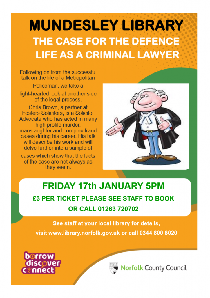 Mundesley Library Event 17th January at 7pm