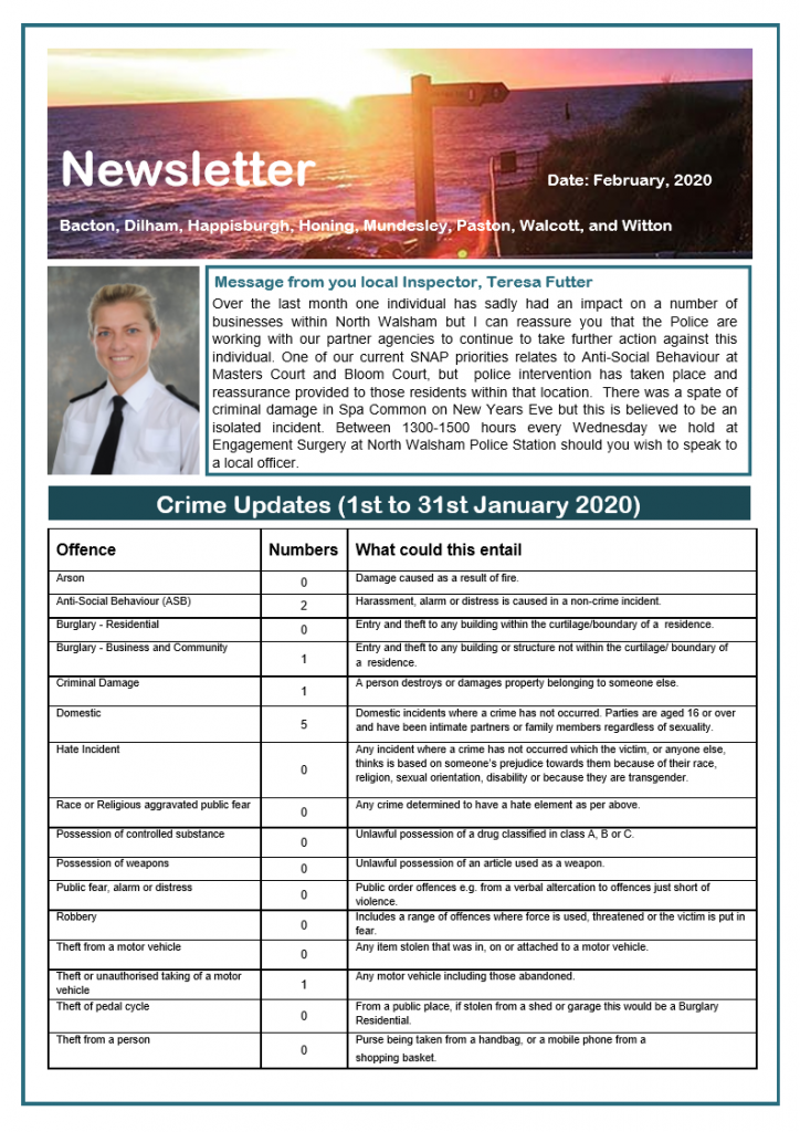 Police Newsletter - front page