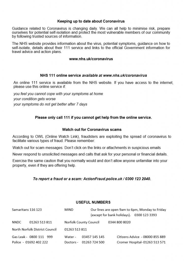 COViD-19 Community Leaflet page 2