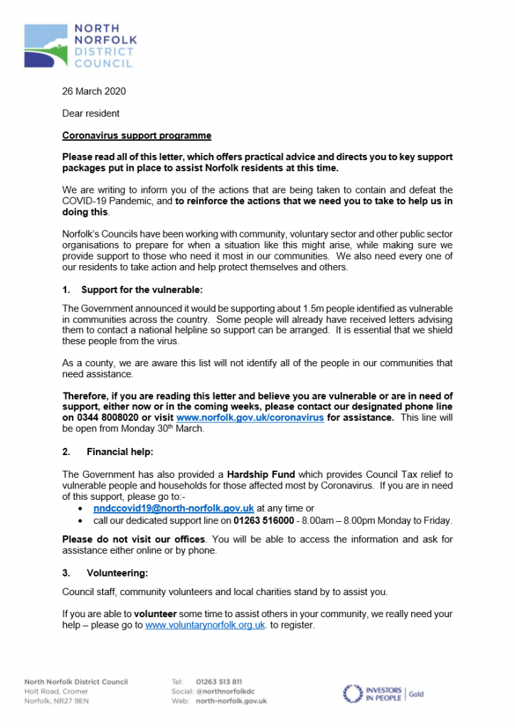 Letter to residents from NNDC PAGE 1