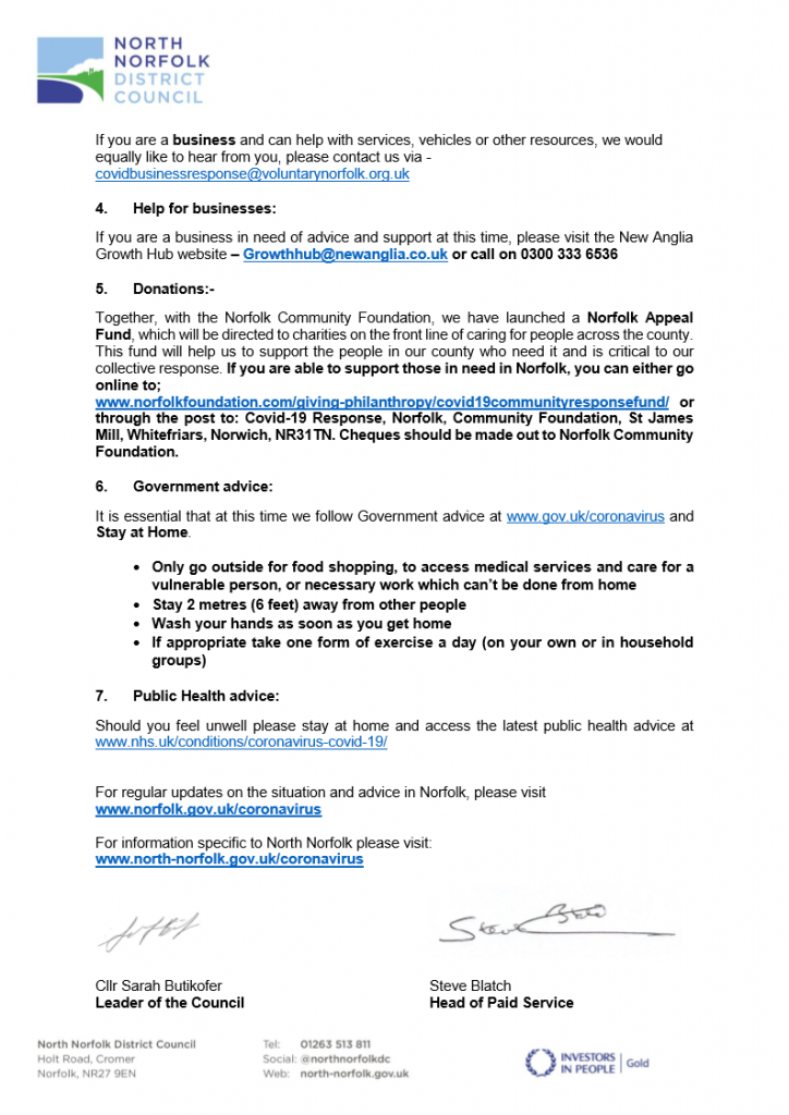 LettEr to residents from NNDC