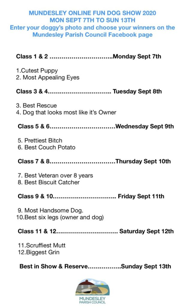 List of classes for online Dog Show