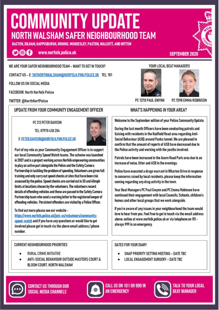 Police Newsletter page 1 September