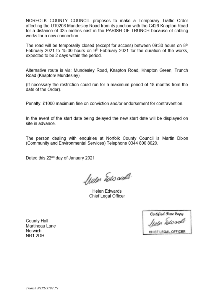 Temporary closure of Mundesley Road in the Parish of Trunch - cabling works for a new connection (my ref NTRO3782)