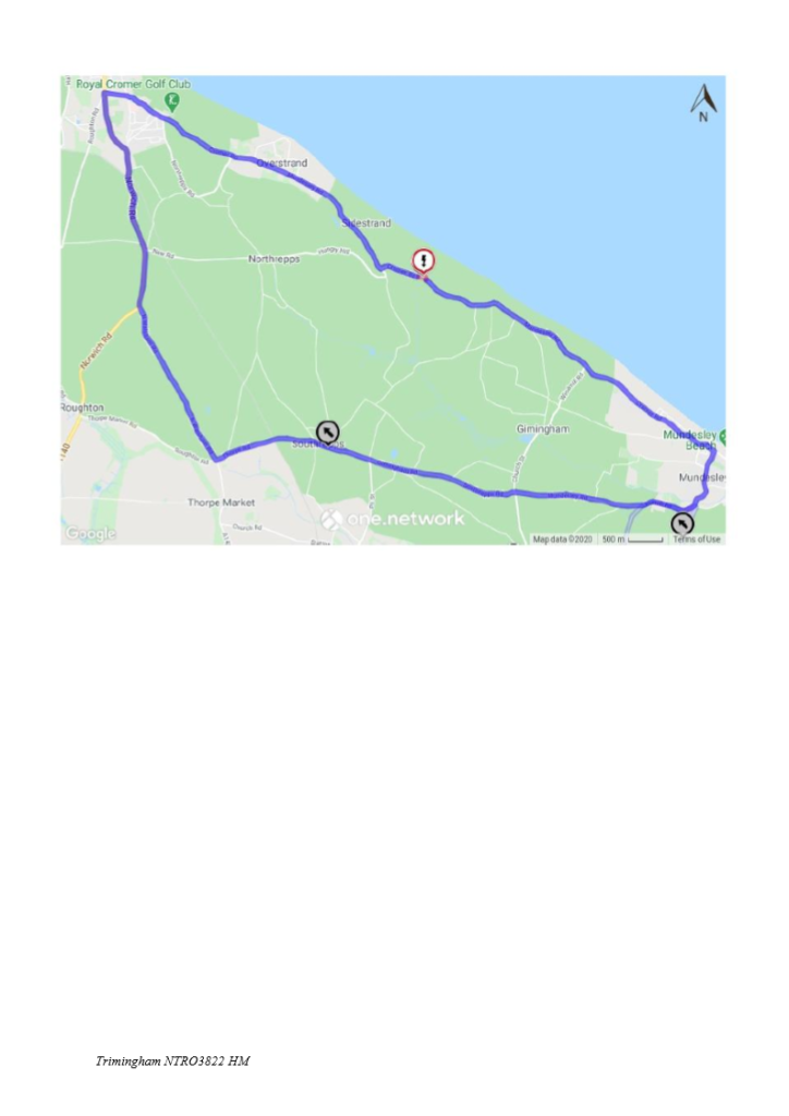 Temporary closure of Cromer Road in the Parish of Trimingham - repairs to electricity pole on roadside (my ref NTRO3822)