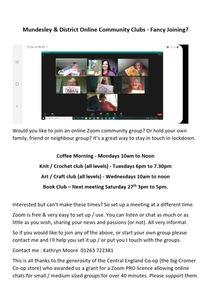 Mundesley community Zoom Online Meetings
